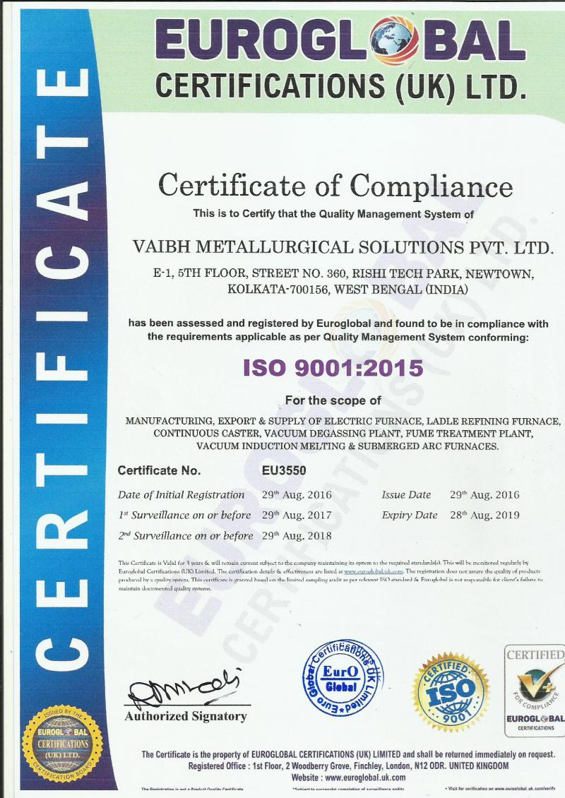 Vaibh Metallurgical Solutions Pvt Ltd Iso Certification
